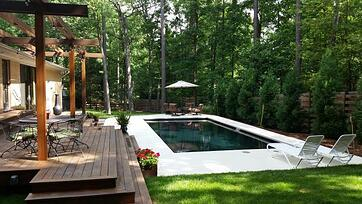 rectangular black fiberglass pool