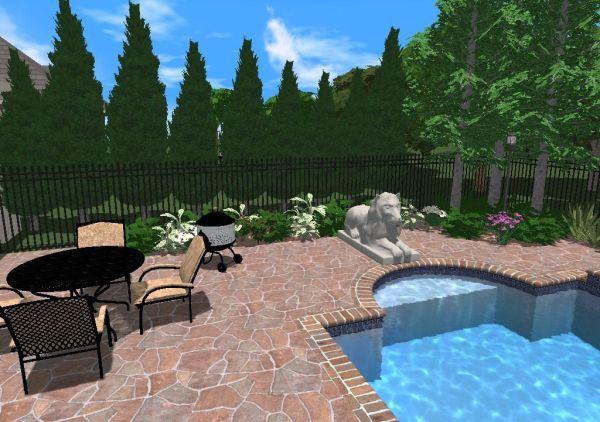pool landscaping with natural screening - Roman Swimming Pool Designs