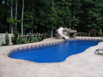 fiberglass pool deck with slide