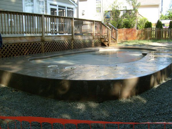 turn-down slab for inground pool
