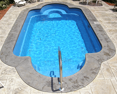 fiberglass pool install by river pools and spas in fairfax va with handrail