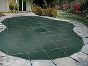 fiberglass pool with mesh security cover