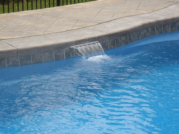 """18"""" cascade on fiberglass pool installed by river pools and spas"""