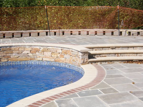 fiberglass pool patio and coping options