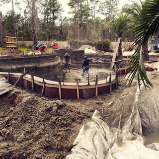 Messy concrete-pool construction
