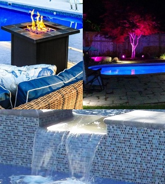 fire pit, pool and patio lights, and a waterfall with tile backsplash