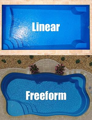 linear vs freeform pool shapes, from above