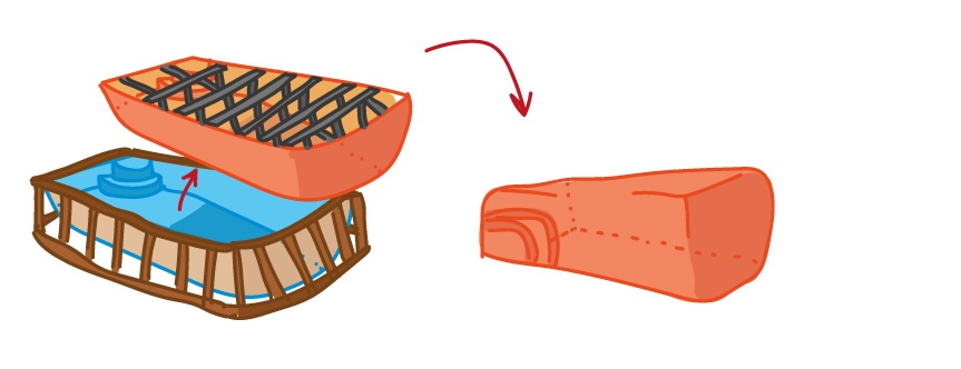 mold from pattern (upside down) (illustration)