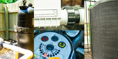 pool equipment, including salt chlorine generator and pump/filter system