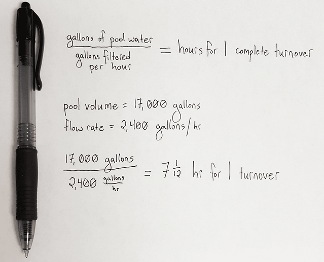 pool formula for flow rate and turnover rate