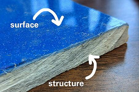 surface vs. structure of fiberglass pool shell