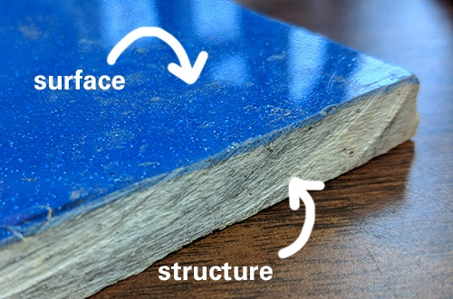 surface and structure of a fiberglass pool shell sample
