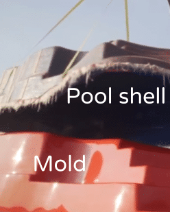 pool shell separated from mold