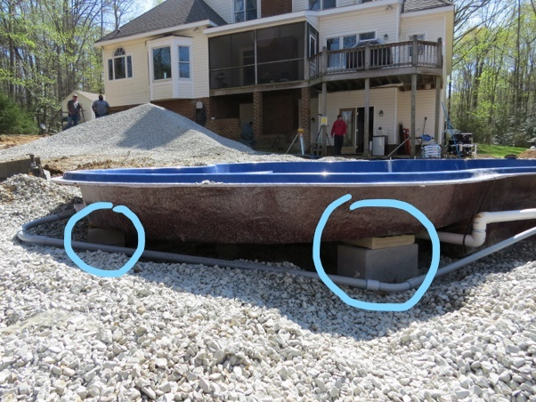 support piers for fiberglass pool tanning ledge installation