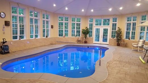 Indoor fiberglass swimming pool