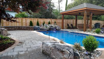 The swimming pool construction process - O30 fiberglass pool with cascade water feature