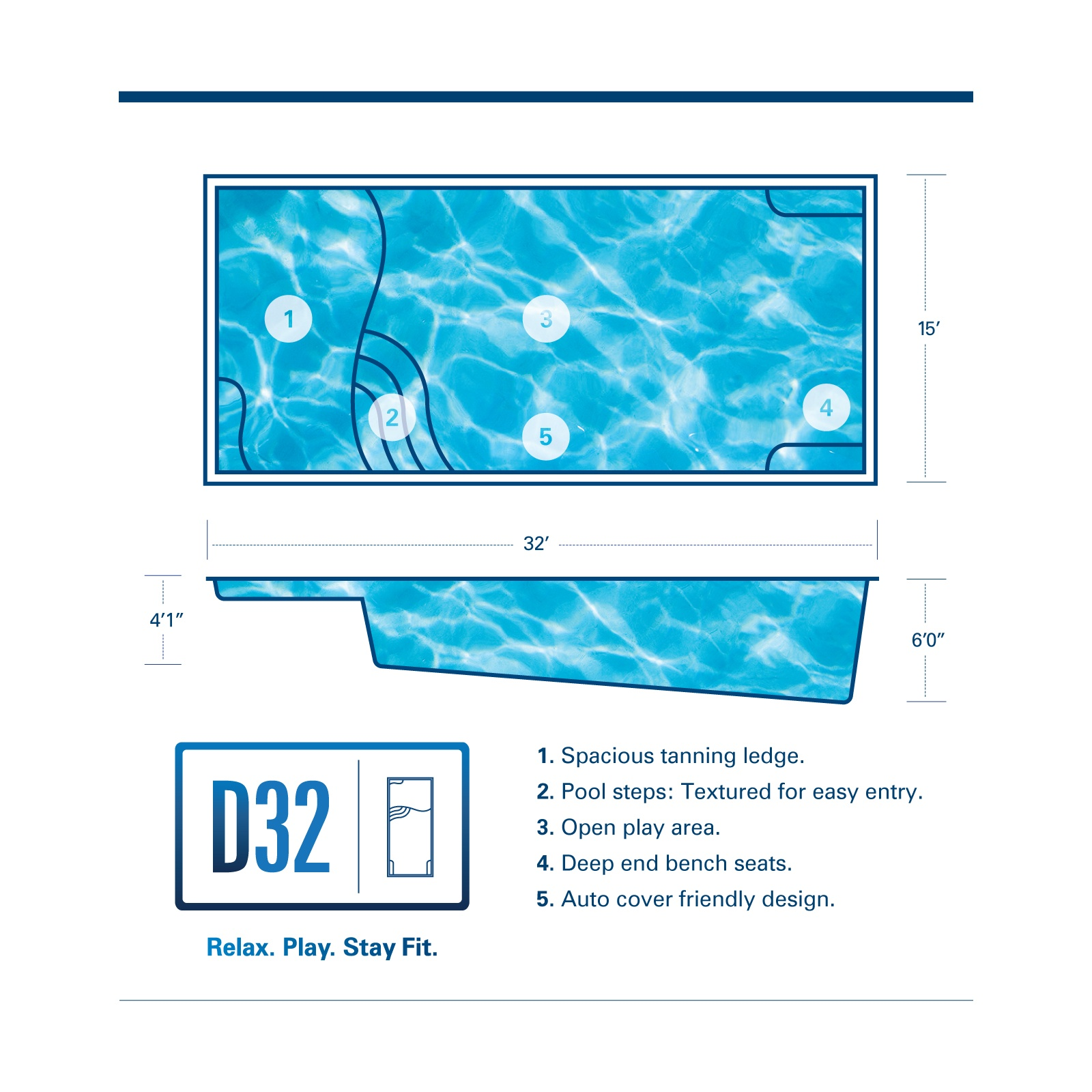 rectangular Del Sol 32 pool design by River Pools