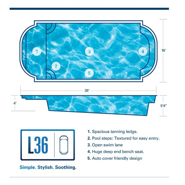 L36 fiberglass pool with spacious tanning ledge and bench