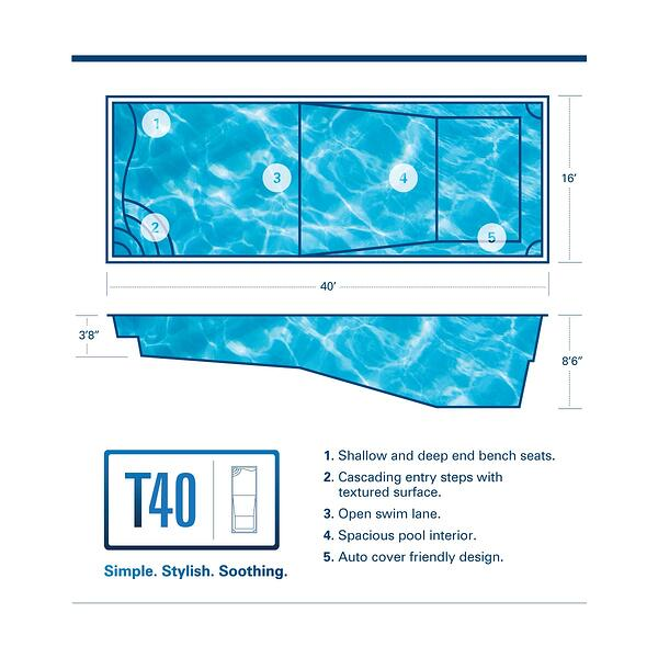 "T40 fiberglass pool with 8'6"" deep end and bench seating"