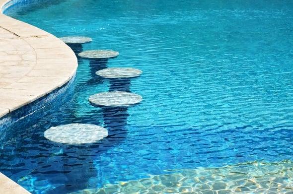 Semi inground pool with swim up bar