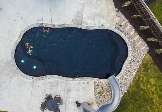 aerial view of fiberglass black bottom pool