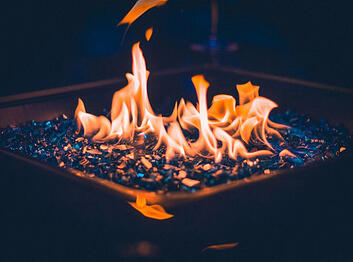 blue glass burning fire pit