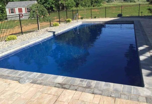 deep blue fiberglass pool