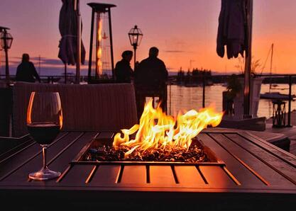 faux wood fire pit table