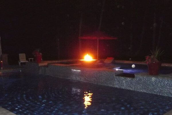 fire bowl in swimming pool