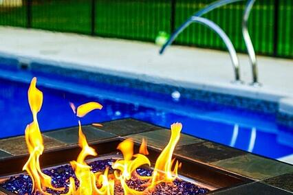 glass burning square fire pit