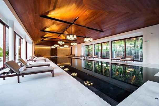 indoor black swimming pool
