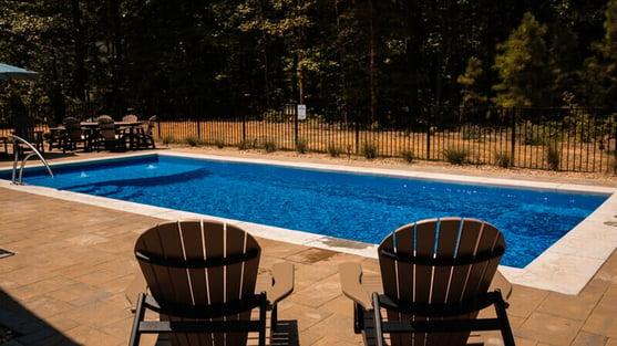 Rectangular fiberglass pool without spa