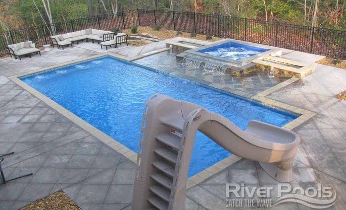 fiberglass pool with slide