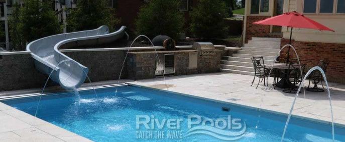 pool slide on fiberglass pool