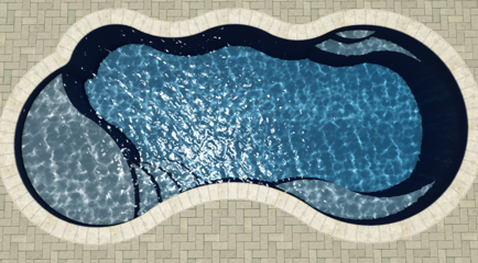 I25 small fiberglass pool with tanning ledge