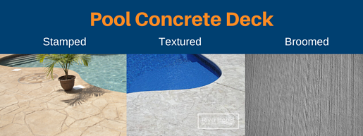 Pool concrete deck options: stamped, textured, and broomed concrete