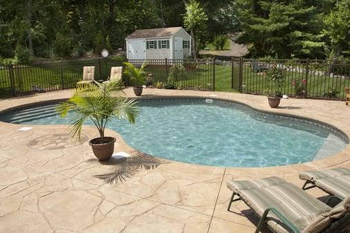 concrete around pool vinyl liner pool