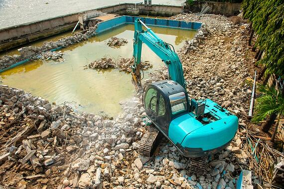 Concrete gunite pool demolition
