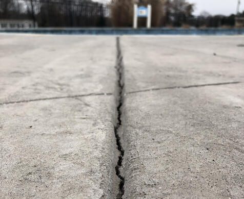 Concrete crack formed in control joint