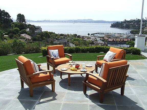 pool patio furniture ideas - wood and fabric