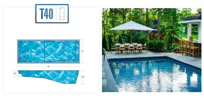 T40 Large inground fiberglass pool