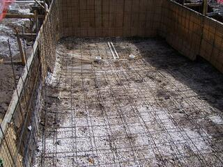 Steel rebar for a concrete pool