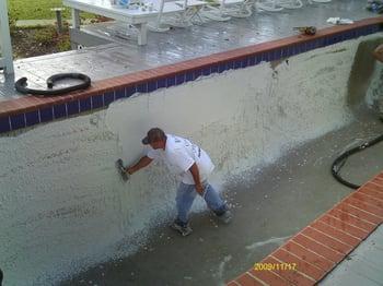 concrete pool plaster application
