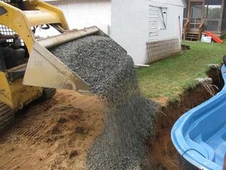 gravel backfill for an inground fiberglass pool