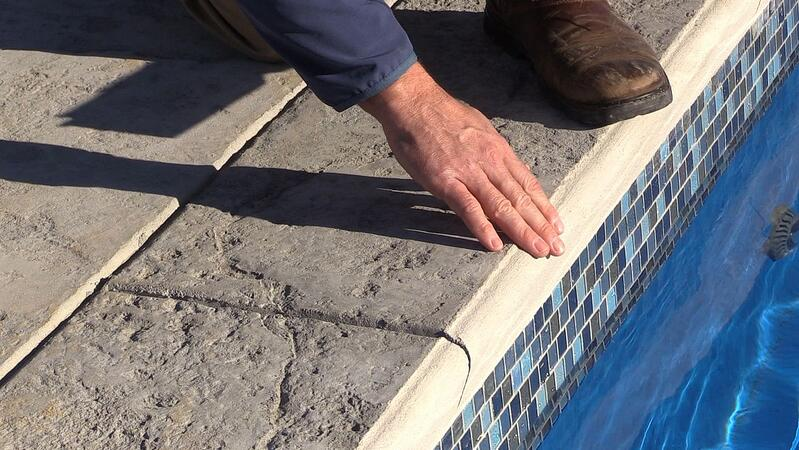 Concrete coping on a pool