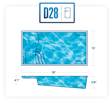D28 fiberglass pool shell
