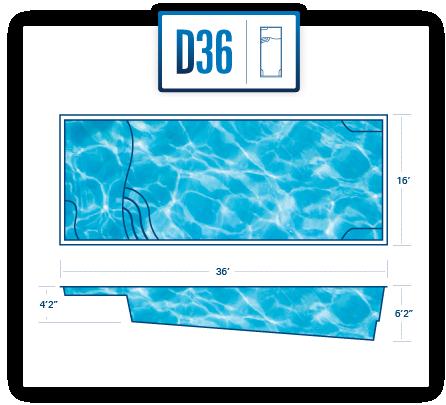 River Pools D36 fiberglass pool