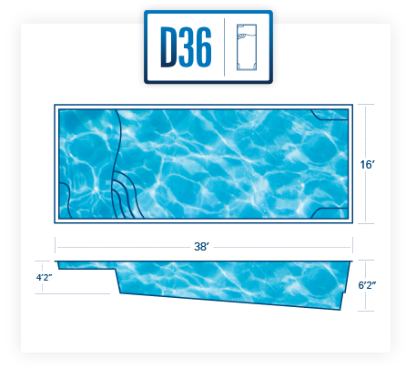 D36 inground fiberglass pool