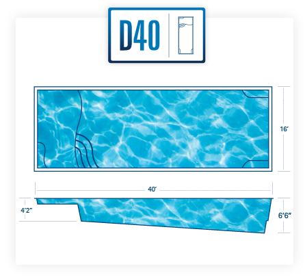 River Pools D40 fiberglass pool