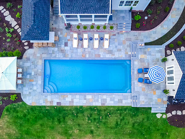 overhead shot of a rectangular T40 fiberglass pool
